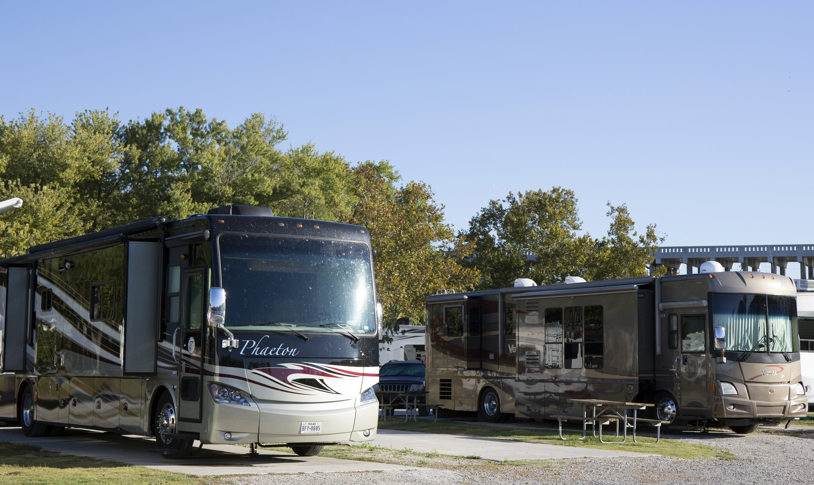 Premium sites with concrete pads available that can accommodate RV's up to 90 feet.